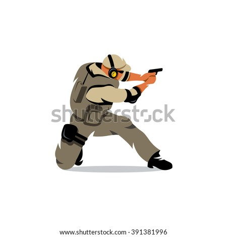 Vector Policeman Tactical Shoot Cartoon Illustration. Armed police military preparing to shoot with gun. Branding Identity Corporate Logo isolated on a white background - stock vector