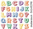 vector - Polka Dot Alphabet.  Original letter design in multicolor polka dots on a white background for scrapbooks, albums, crafts, back to school projects. EPS8 organized in groups for easy editing. - stock vector