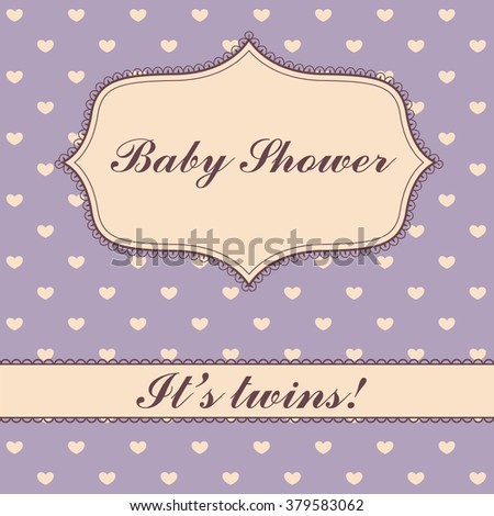 Vector polka dot hearts baby shower twins