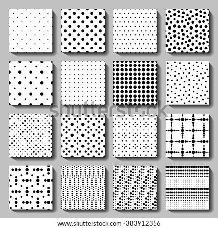 Vector polka dot seamless patterns set. Elegant black white graphic background for wallpaper, fabric print, furniture. 60s - 70s design elements. Unusual dotted ornaments, irregular, crossed, regular. - stock vector
