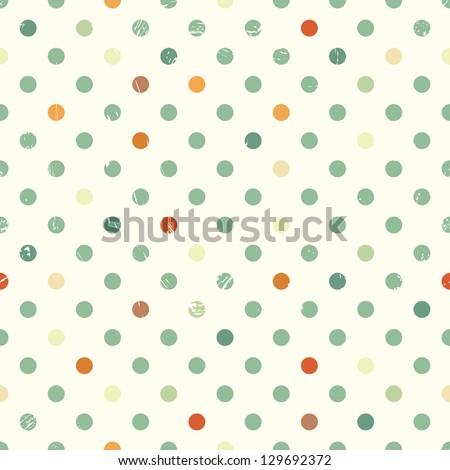 vector polka dot vintage seamless background - stock vector