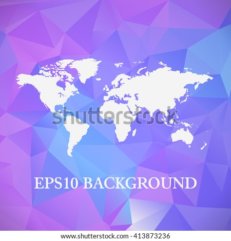 Vector polygon world map background. Can be used as website background or for presentation - stock vector