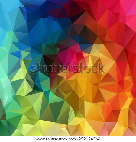 vector polygonal background with irregular tessellations pattern - triangular design in rainbow spectrum colors - full color - stock vector