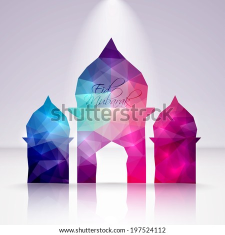 Vector Polygonal Crystal Mosque. Translation: Eid Mubarak - Blessed Feast - stock vector