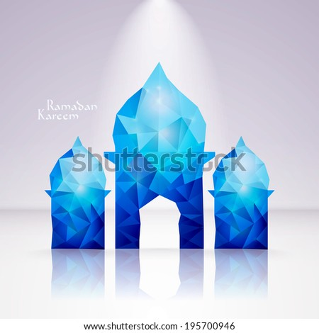 Vector Polygonal Crystal Mosque. Translation: Ramadan Kareem - May Generosity Bless You During The Holy Month. - stock vector