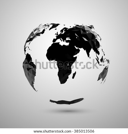Vector polygonal earth silhouette design.  - stock vector