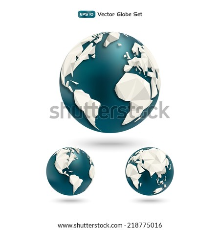 Vector polygonal Globe. Planet earth set made with triangles in different views of the continents for infographics.  - stock vector