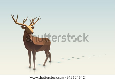 Vector polygonal illustration.Low poly deer, with space for text.  - stock vector