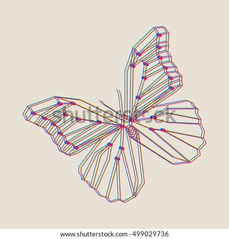 Vector polygonal illustration with geometric butterfly. Origami style