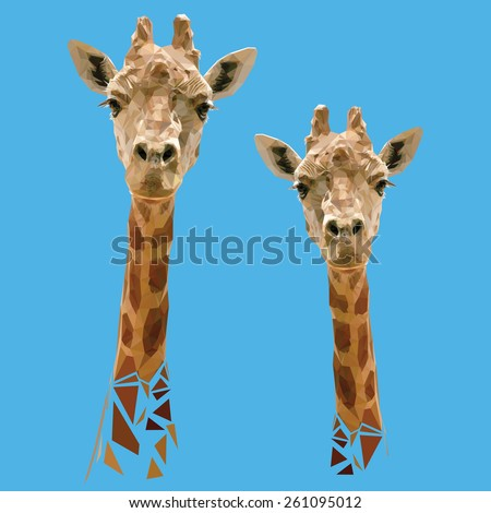Vector Polygonal Illustration with Giraffes - stock vector