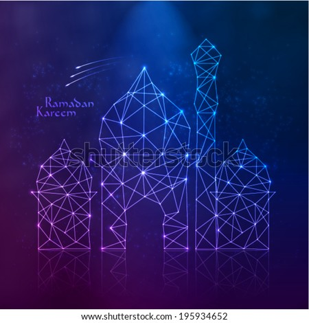 Vector Polygonal Mosque. Translation: Ramadan Kareem - May Generosity Bless You During The Holy Month. - stock vector