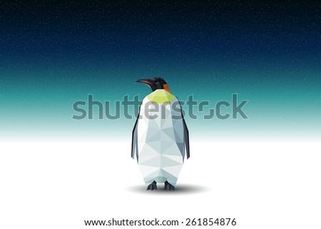 Vector polygonal penguin - stock vector