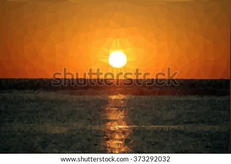 vector polygonal sunset over the sea - stock vector