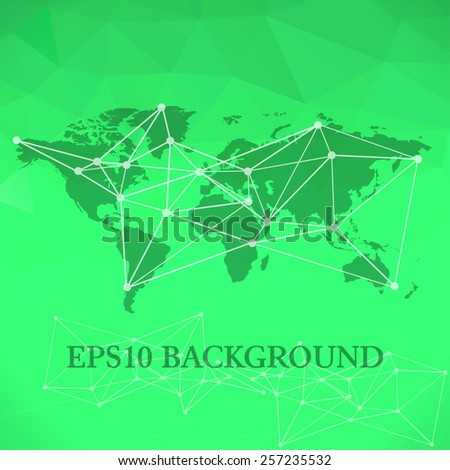 Vector Polygonal World Map background with global network abstract image - stock vector