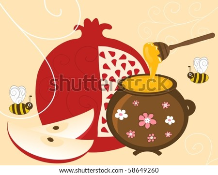 Vector Pomegranate, Apple and Honey in Vintage Pot - stock vector