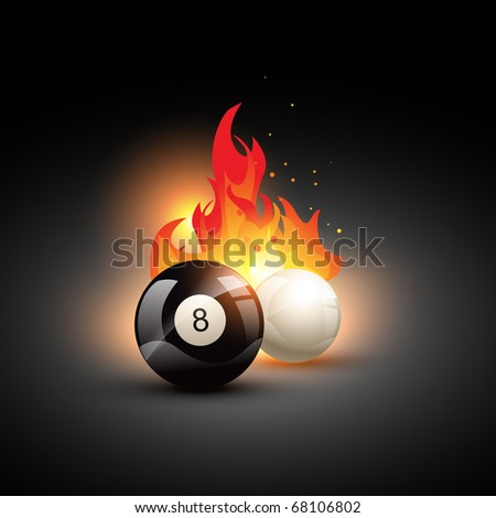 vector pool ball on fire