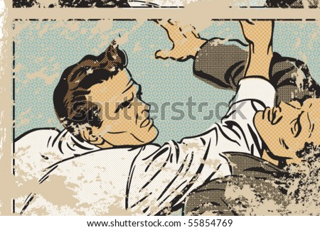 Vector pop art illustration of men fighting - stock vector