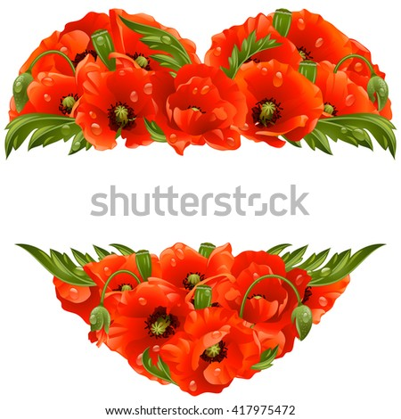 Vector poppy frame in the shape of heart