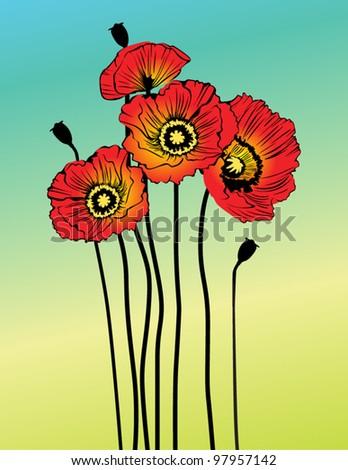 Vector poppy spring flowers - stock vector