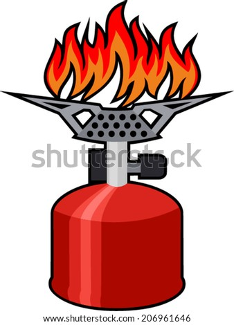 vector portable gas-stove isolated on the white background - stock vector