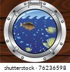 vector porthole and colorful tropical fishes - stock photo