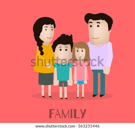 vector portrait family with mother son daughter and father - stock vector