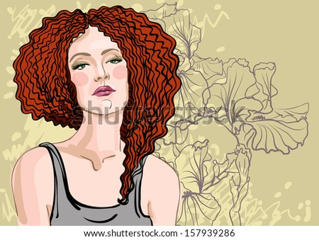 vector portrait of a beautiful young woman  on a background of flowers - stock vector