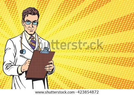 vector Portrait Of A Confident Mature Doctor - stock vector