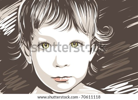 Vector portrait of a cute little girl