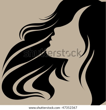 "Vector portrait of a girl with beautiful hair (from my big ""Vintage girl collection"") - stock vector"