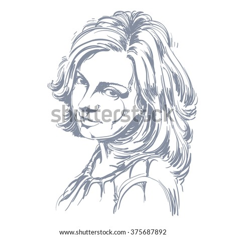 Vector portrait of attractive woman, illustration of good-looking romantic female. Person emotional face expression.