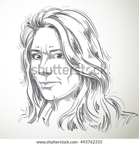 Vector portrait of irate woman illustration of good looking but angry female person