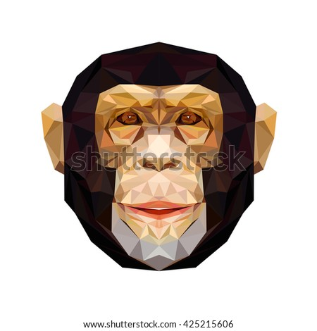 Vector portrait of monkey polygonal. Triangle illustration monkey for use as a print on t-shirt and poster. Geometric low poly chimpanzee design. African animal mammal. Monkey icon. - stock vector