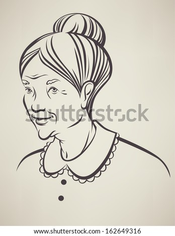 vector portrait of my lovely grandma - stock vector