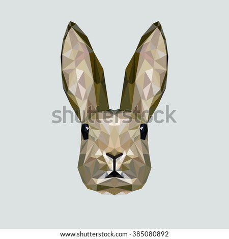 Vector portrait of rabbit polygonal style. Triangle illustration of animal for use as a print on t-shirt and poster. Geometric low poly rabbit design. Creative easter bunny - stock vector. - stock vector