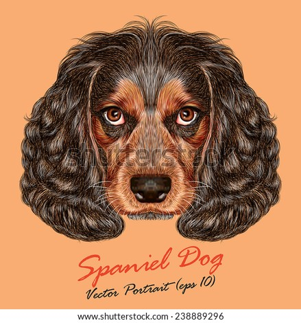 Vector Portrait of Spaniel Dog. Cute young Russian hunting spaniel. - stock vector