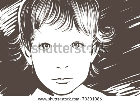 Vector portrait of the cute little girl