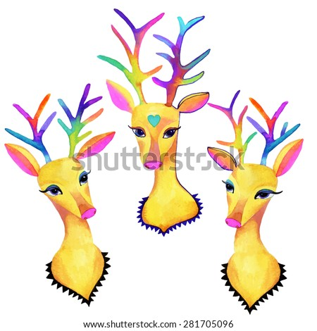 vector portraits of sweet gazelle. deer head with colorful antlers and decorative animals. hipster illustration in watecolor.  - stock vector