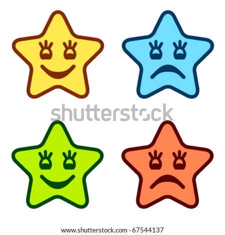 vector positive and negative faces of stars - stock vector