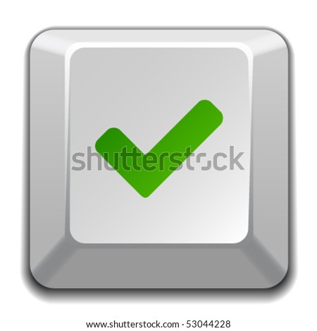 vector positive checkmark key - stock vector