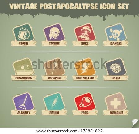 Vector Post-Apocalypse Icon Set - stock vector