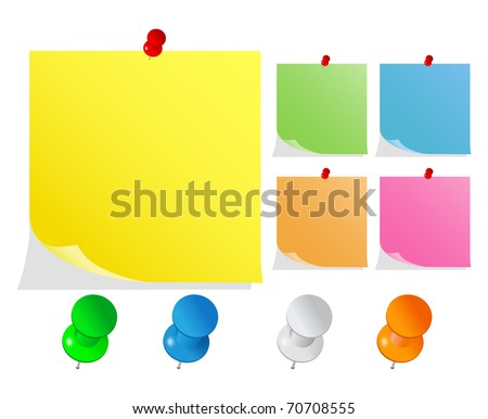 Vector Post-It Notes with Push Pins - stock vector
