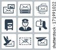 Vector post service icons set - stock vector