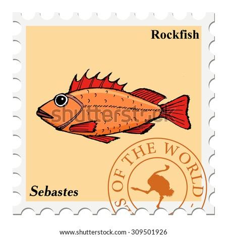 vector, post stamp fish - stock vector