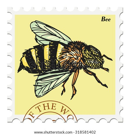 vector, post stamp with bee - stock vector
