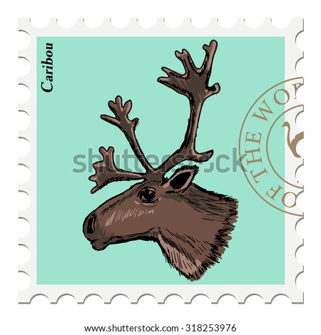vector, post stamp with caribou - stock vector