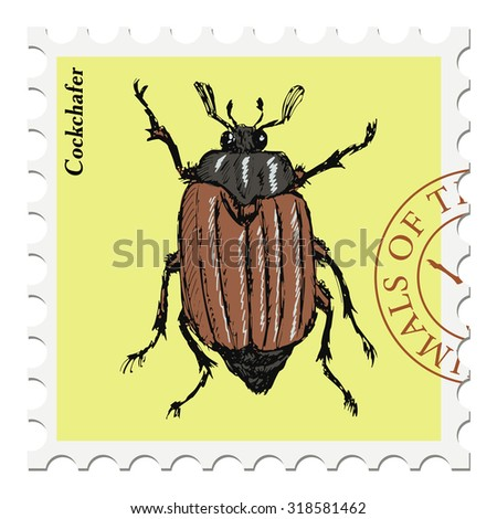 vector, post stamp with cockchafer - stock vector