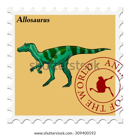 vector, post stamp with dinosaur - stock vector
