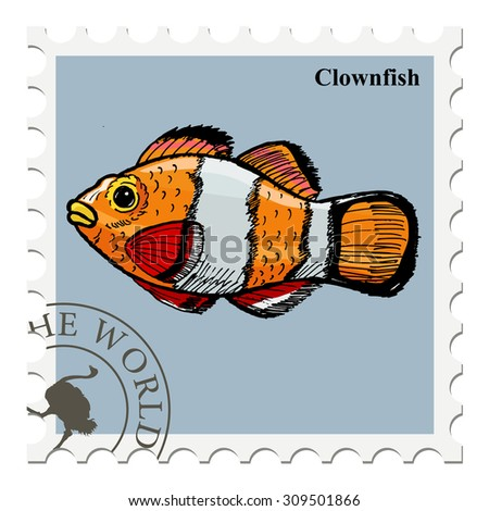 vector, post stamp with fish - stock vector