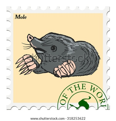 vector, post stamp with mole - stock vector